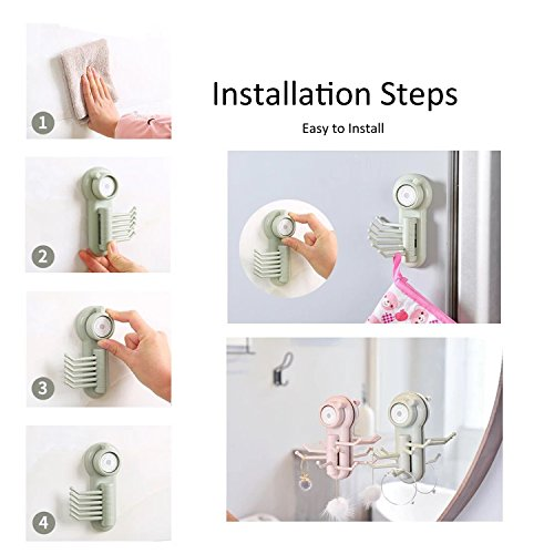 Suction Cup Hooks, E-BAYKER Powerful Vacuum 6 in 1 Holder Utility Hooks Home Kitchen Bathroom Wall Removable Hanger Organizer for Towel Bathrobe Loofah Cloth Key Women's Handbag (3 Pack) by E-BAYKER (Image #5)
