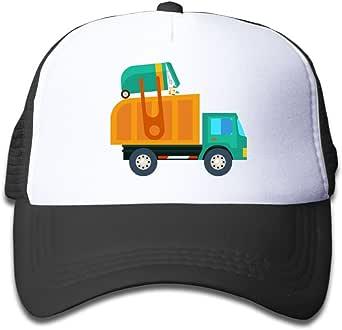 Children Sun Protection Baseball Cap Adjustable Mesh Hats Cartoon Garbage Truck