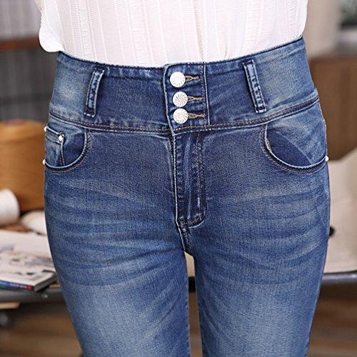 Haute Skinny Jean Bleu Grande Avant Casual Slim Pantalons YuanDian Denim Stretch Taille Hiver Fit Up Femme Boucle Crayon Mode Push Cigarettes Automne Taille wCP7Tq