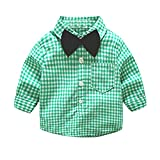 Tem Doger Toddler Little Boys' Long Sleeve One Pocket Button Down Plaid Cotton Bow Tie Shirts Blouse (Green, 90/12-18 Months)
