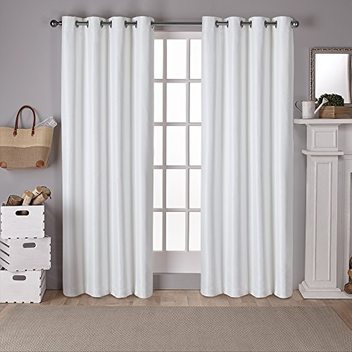 Exclusive Home Curtains Raw Silk Thermal Room Darkening Grommet Top Window Curtain Panel Pair, Off-White, 54x96 - Stephanie Top In Black