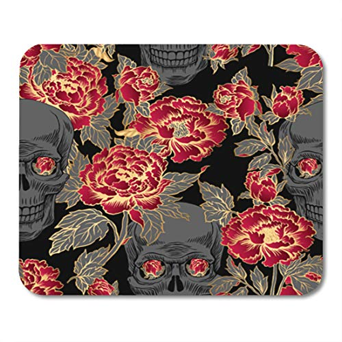Semtomn Gaming Mouse Pad Colorful Skull Flowers Peony Gold Tattoo Rock and Roll 9.5