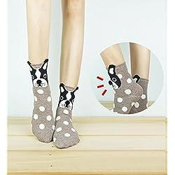 Pom Pom Nose Boston Terrier Ankle Socks