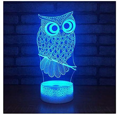 XINGXIAOYU Owl Acrílico Dormitorio 3D Lámpara De Escritorio ...
