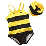 Taiycyxgan Baby Boys and Girls Animal Shape Little Bee One Piece Swimsuit With Hat Yellow/Black,Medium / 6-12 Months