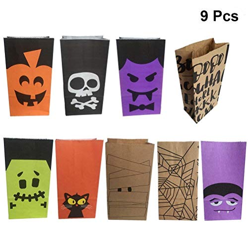 LUOEM 9 Pcs Halloween Paper Candy Bags Candies Gift Goody Bags Party Favors Paper Bags for Kids Halloween Party Decorations Supplies (Assorted Patterns)