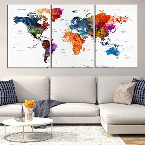 Modern Abstract Best Seller Mixcolor World Map Push Pin Travel Map Wall Art Canvas Print for Home and Living Decoration - Ready to Hang - Gift for Him - Gift For Her - Wedding Guest Book World Map
