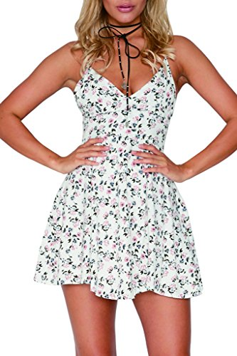 AEETE Dresses White Casual Collection Floral SS Neck Print Women's Mini Halter V RrRfxPvwq