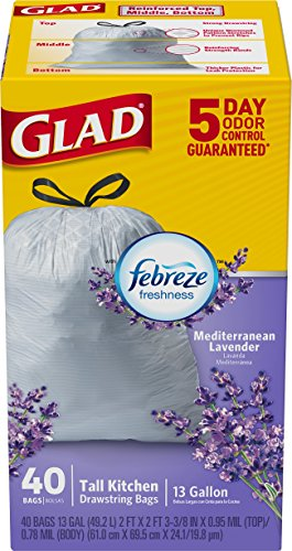 012587784594 - Glad OdorShield Tall Kitchen Drawstring Trash Bags - Febreze Mediterranean Lavender, 13 Gallon, 40 Count carousel main 2