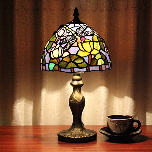 Royal-8 inch Tiffany lotus leaf dragonfly fly handmade lamp tables cafe bar restaurant trade Lamps