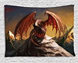 40 inch dragon wall fan - Ambesonne Dragon Decor Collection, Malicious Dragon on Mountain Peaks Reflecting for His Next Move Oriental Legendary Beast Decor, Bedroom Living Room Dorm Wall Hanging Tapestry, 60 X 40 Inches, Multi