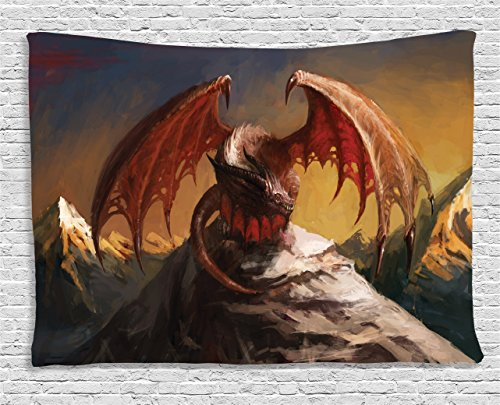 Ambesonne Dragon Decor Collection, Malicious Dragon on Mountain Peaks Reflecting for His Next Move Oriental Legendary Beast Decor, Bedroom Living Room Dorm Wall Hanging Tapestry, 60 X 40 Inches, Multi