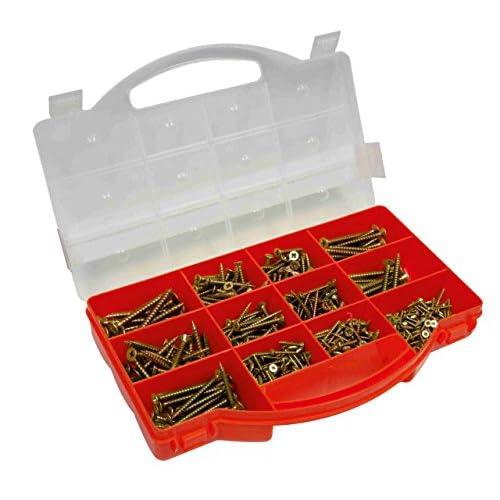 Connex DP8500085 - Estuche con tornillos surtidos (cabeza de estrella TX, cabeza avellanada, 900 unidades, galvanizados)