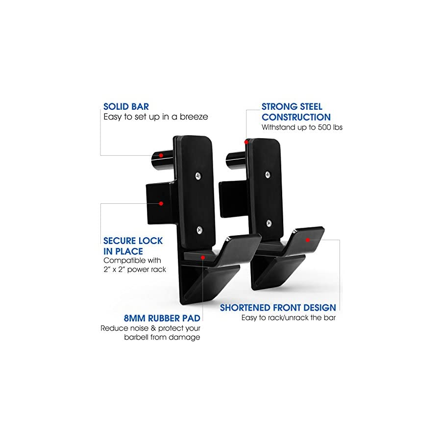 """Yes4All Set of 2 Steel J Hooks for Power Rack Fit Most 2"""" x 2"""" Sq. Tube & Easy to Install"""