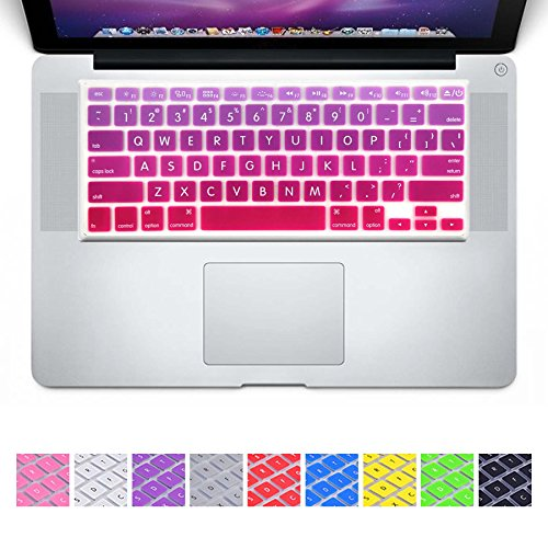 DHZ Big Font Hot Pink Gradient Keyboard Cover Silicone Skin for 2015 or Older Version MacBook Air 13 MacBook Pro 13 15 inch (No Fit for 2018 MacBook air 13 or 2017/2016 Released New MacBook Pro 13 15