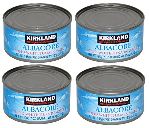 Kirkland Albacore Solid White Tuna in Water - Pack of 4 Cans (Each can 190g / 7oz)