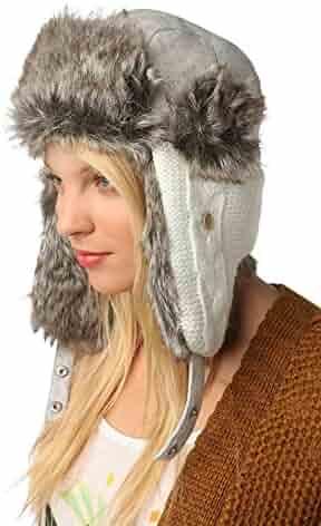 d3eff8fcdca Unisex Winter Hat Faux Fur Trapper Hat Cotton Wool Blend Warm ...
