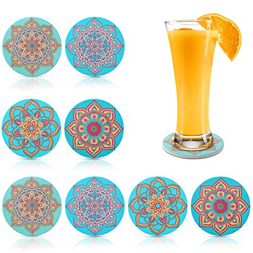 Coasters for Drinks Coasters 8 Pack Absorbent S...