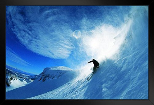 Man Skiing Down a Slope Photo Art Print Framed Poster 18x12 by ProFrames - Snowbird Destinations