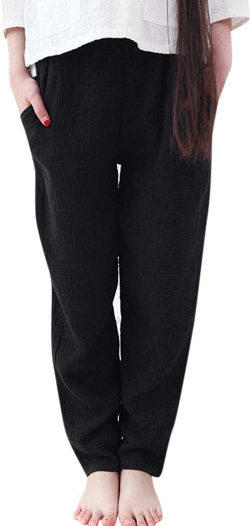 Amazon.com: Mujer Algodón Lino Palazzo Pantalones Cordón ...