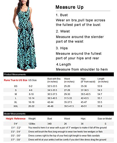 Zattcas Women Floral Tank Maxi Dress Pocket Sleeveless Casual Summer Long Dress (Medium, Multi Coral)