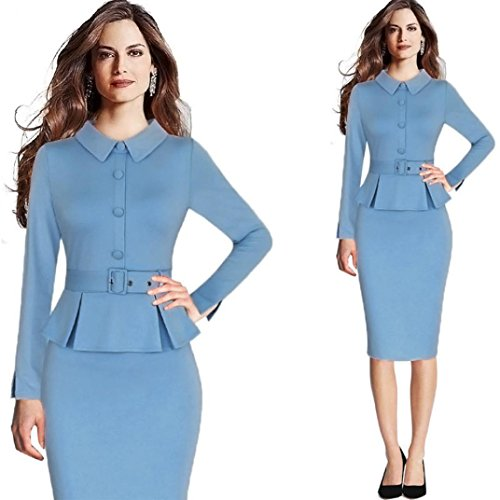 Hemlock Office Lady Dress Elegant Formal Dress Tunic Lapel Dress Turndown Collar Dress Party Midi Dress (L, Blue) by Hemlock