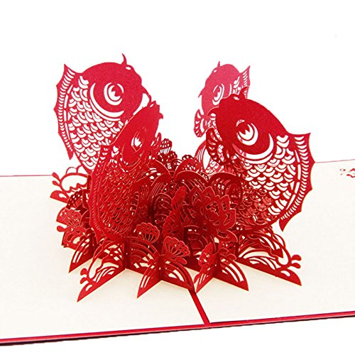 Misciu 3D Pop Up Greeting Card Chinese New Year Fish Surplus Year After Year Christmas