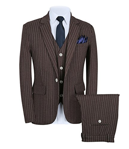 (Mens Pinstripe Suit 3 Piece Slim Fit Casual Dress Suits Blazer+Vest+Pants US Size 36 (Label XXL) Brown)