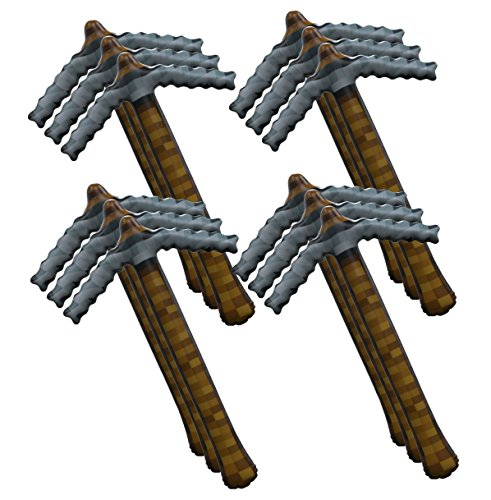 Pixel Mining Inflatable Pickaxe Birthday Party Toy Favor (8 Pack) ()