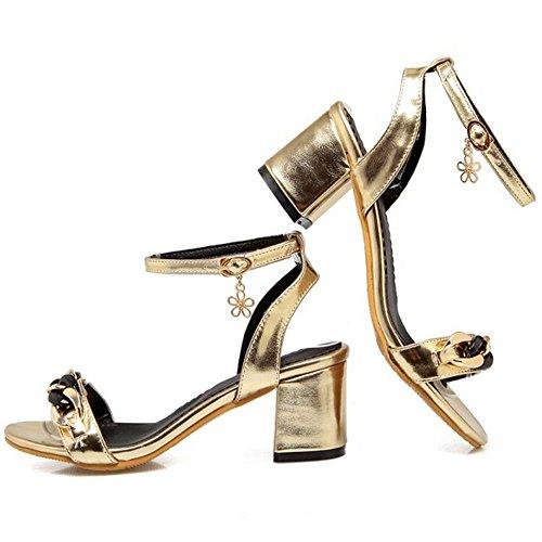 FANIMILA Mujer Moda Correa de Tobillo Tacon Ancho Sandalias Punta Abierta Slingback Zapatos Gold