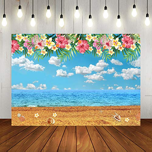 Tropical Hawaiian Beach Backdrop Luau Party Photography Background Sea Palm Shells on The Beach for Baby Shower Decorations Photo Props 7x5ft]()