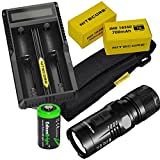 Nitecore EC11 Cree XM-L2 U2 LED Flashlight Max 900 Lumens, with Niteocre UM20 USB charger, 2 X Nitecore IMR 18350 rechargeable Batteries and EdisonBright CR123A Lithium Battery Bundle