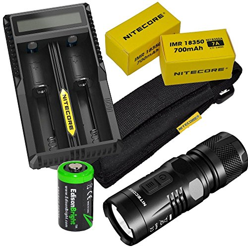 Nitecore EC11 Cree XM-L2 U2 LED Flashlight Max 900 Lumens, with Niteocre UM20 USB charger, 2 X Nitecore IMR 18350 rechargeable Batteries and EdisonBright CR123A Lithium Battery Bundle by Nitecore