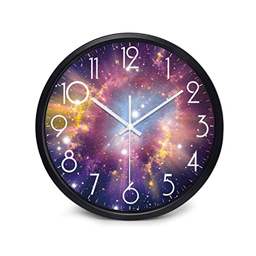 Wenzi-day Moon Sky and Mars 3 Styles Glass&Metal Silent Movement Wall Clock,A111B,12 inch
