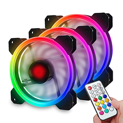 RGB Case Fans 120mm 3 Pack, Interactive Quiet Edition High Airflow Speed Controllable Dual Light Loop Color LED PC Computer RGB Case Fan with Controller and Remote for PC Cases CPU Coolers Chassis Rad