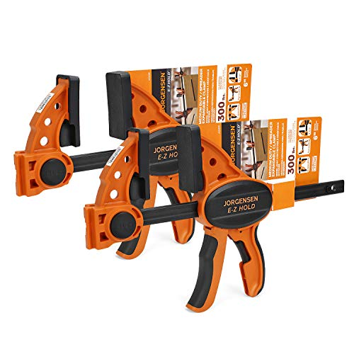 "Jorgensen 6"" One Hand Clamp/Spreader, E-Z Hold Bar Clamps Set, Medium Duty, 2-pack"