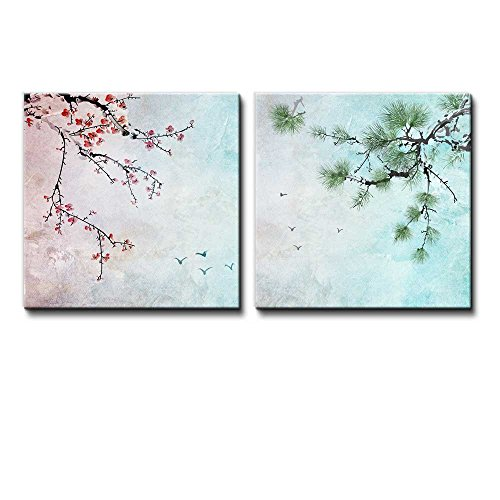 2 Piece Beautiful Watercolor Painting of a Cherry Blossom and a Pine Tree
