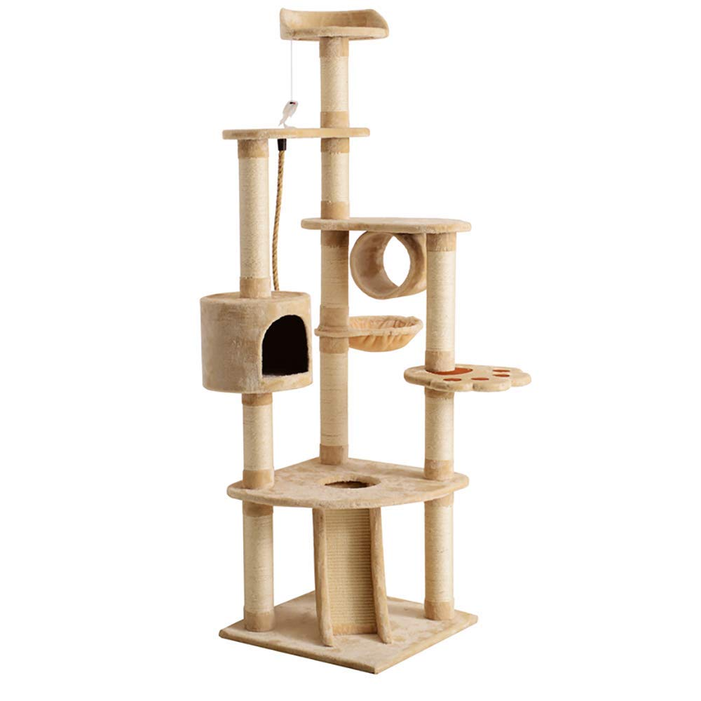 Beige Large Cat Climbing Frame, Multi-Level Tower Tree with Perches Platform Sisal Cat Tree Cat Toy Jumping Platform,Beige
