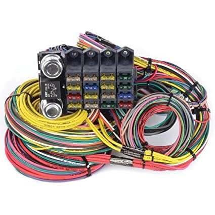 Amazon.com: JEGS 10405 Universal Wiring Harness 20-Circuit 16-Fuse on universal heater core, universal radio harness, lightweight safety harness, universal air filter, universal fuse box, universal ignition module, universal steering column, stihl universal harness, universal battery, universal equipment harness, universal fuel rail, construction harness, universal miller by sperian harness,