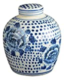 Festcool Antique Style Blue White Porcelain Flowers Ceramic Covered Jar Vase, China Ming Style, Jingdezhen (LJ1)