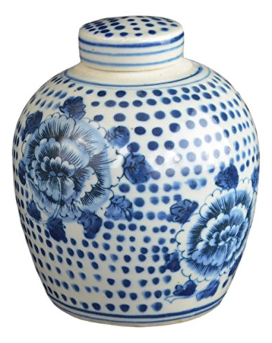 Festcool Antique Style Blue and White Porcelain Flowers Ceramic Covered Jar Vase, China Ming Style, Jingdezhen (LJ1) ()