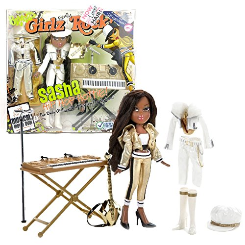 (MGA Entertainment Bratz Girlz Really Rock Series 10 Inch Doll Playset - Hip Hop Hottie SASHA with 2 Sets of Outfits, Hat, Extra Pair of Shoes, Guitar, Keyboard and Microphone with Stand)