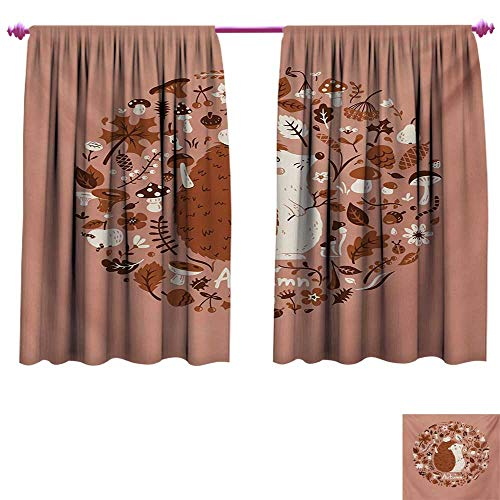 Hedgehog Drapes for Living Room Autumn Theme Animal Image with Many Season Elements Pine Cone Leaves Soft Colors Room Darkening Wide Curtains W96 x L72 Coral ()