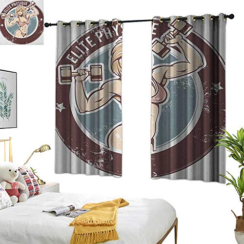 Warm Family Beaded Curtain Fitness,Retro Style Sexy Lady with Dumbbells Elite Physique Grunge Display, Chocolate Pale Pink Blue 84