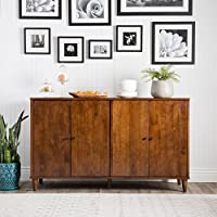 Modern Farmhouse Buffet Suitable For Kitchen And Dining Areas, Living Rooms, Entryways. Storage Cabinet Table Features Two Cupboards W/ Adjustable Shelves. Rustic Wood Sideboard Creates Timeless Feel.