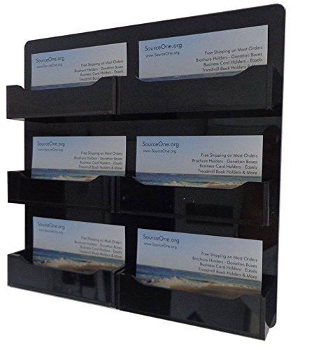 Source One LLC BLACK 6 Pocket Premium Wall Mount Business Card Holder