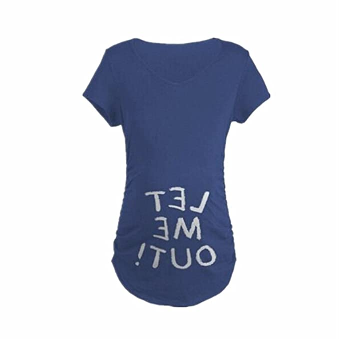 WEIMEITE Camisetas de mujeres embarazadas WEIMEITEI carta impresa camiseta Moda embarazadas sueltas camisetas de maternidad azul