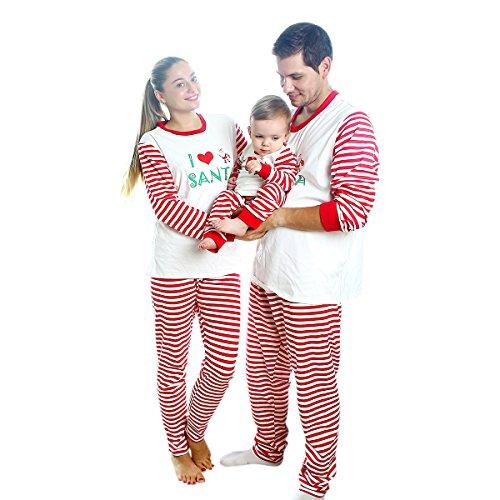 Matching Christmas Pajamas for Family with Baby,BOBORA Stripes
