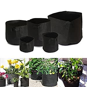 Ajusen 5Pcs Grow Bag with Handles,Fabric Grow Pots,Garden Planter Containers and Vegetables Planting Growing Pouch for Balcony,Garden,Household Decoration