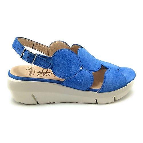 4c8d3d15095 Wonders Fly D8210 Sandalia cuña Ante Azul: Amazon.es: Zapatos y complementos